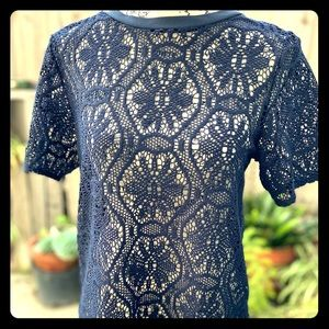 Banana Republic Navy Blue Lace All Over Top